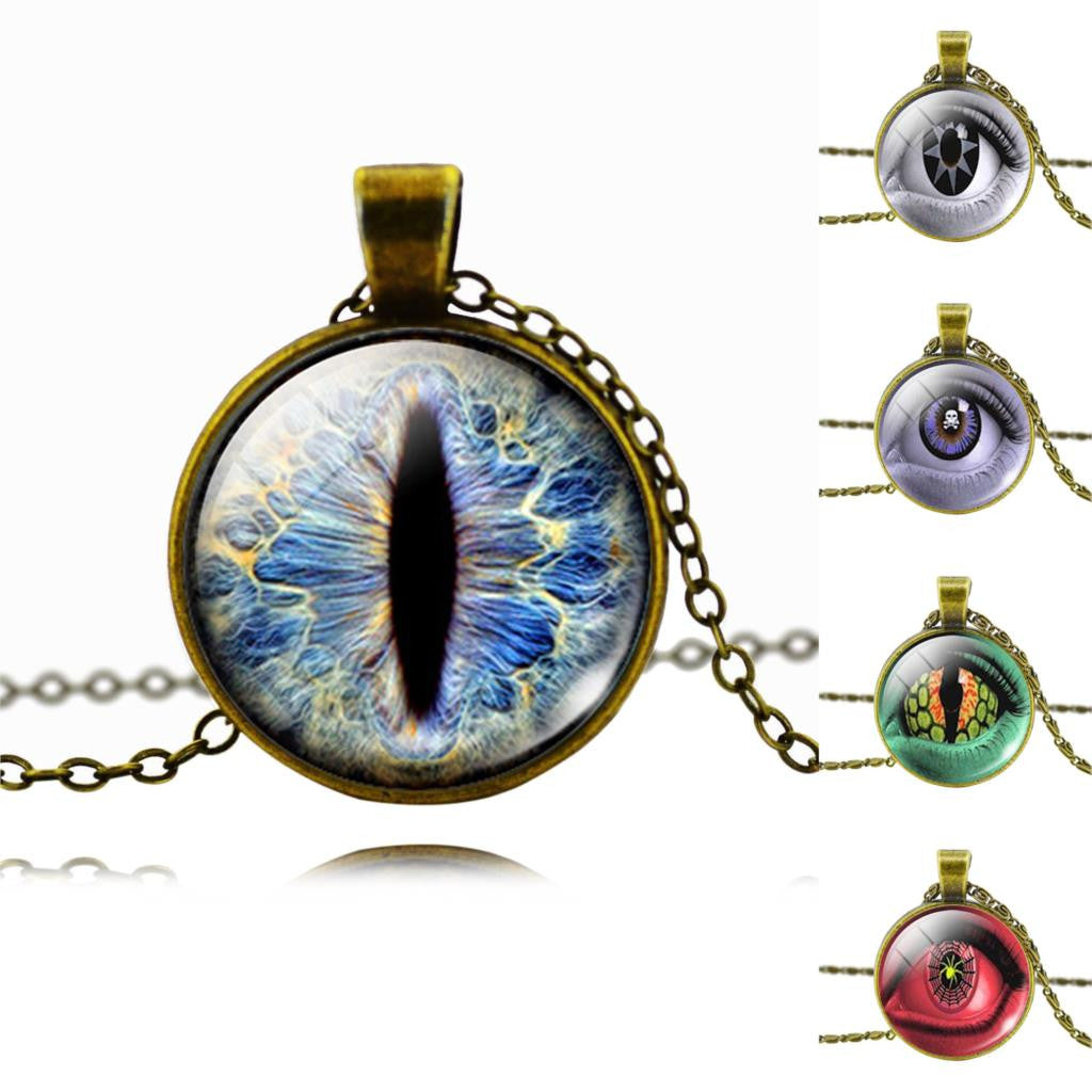 Vintage Fashion 3D Eyes Glass Cabochon Pendant Necklace