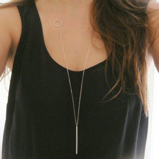 Fashion simple loops stick long necklace