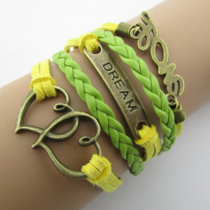 Fashion Anchor Rudder 8 in Bronze  Wax Cords Imitation Leather Bracelet