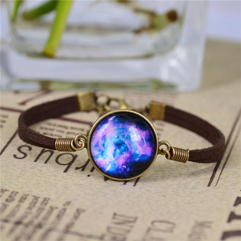 Cheap-fine Lovely Color galaxy, nebula, space, Bronze Tone Alloy pendant suede leather Bracelet Bangle Friendship Couple Gift