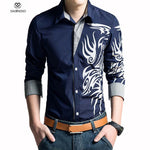 2016 Men Shirt Dragon Printing Slim Fit Casual Shirt White