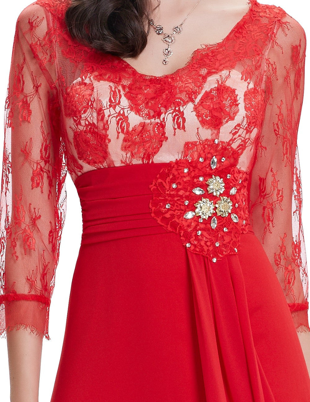 3/4 Sleeve Sheer Lace Rhinestone V-neck Evening Gown