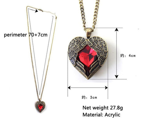New 2016 Fashion Vintage Wing Red Gem Heart Pendants Necklaces Women Jewelry Accessories