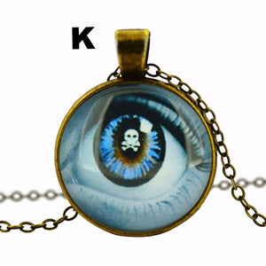 Glass Cabochon Pendant necklace art picture antique Bronze chain necklace vintage eye necklace jewelry fashion women 2016