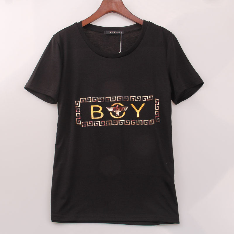 "2 Colors New Arrived T shirt Women Golden Letters ""BOY"" Printed T-shirt Women Summer Short Fashion Brand Top Tee Shirt Femme - Gifts Leads"