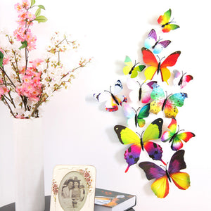 12PCS 3D PVC Magnet Butterflies DIY Wall Sticker Home Decoration - Gifts Leads