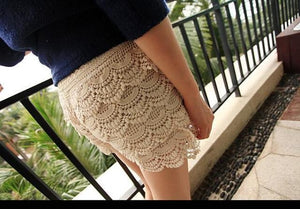 4 Sizes 2016 New Summer Woman Shorts Sweet Style Lace shorts Crochet Hollow Elastic Waist Slim Short