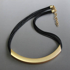 Vintage Alloy Circle Pendant Lots of Black Leather Chain Statement Necklaces Fashion Jewelry For Ladies