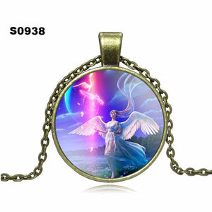 Angel art picture Pendant Necklace Glass Cabochon Vintage Bronze Accessories Statement chain Necklace Fashion Women Jewelry