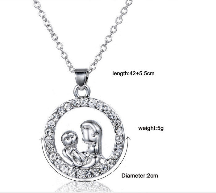 Trendy Mom and Baby Fully-Crystal Circle Pendant Necklace Mother's Day Gift for mother Sweater Chain Necklaces Best Gifts