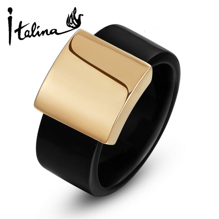 Italina R.A Wide Ring For Men And Women Anel Aneis 18K Rose Gold Plated