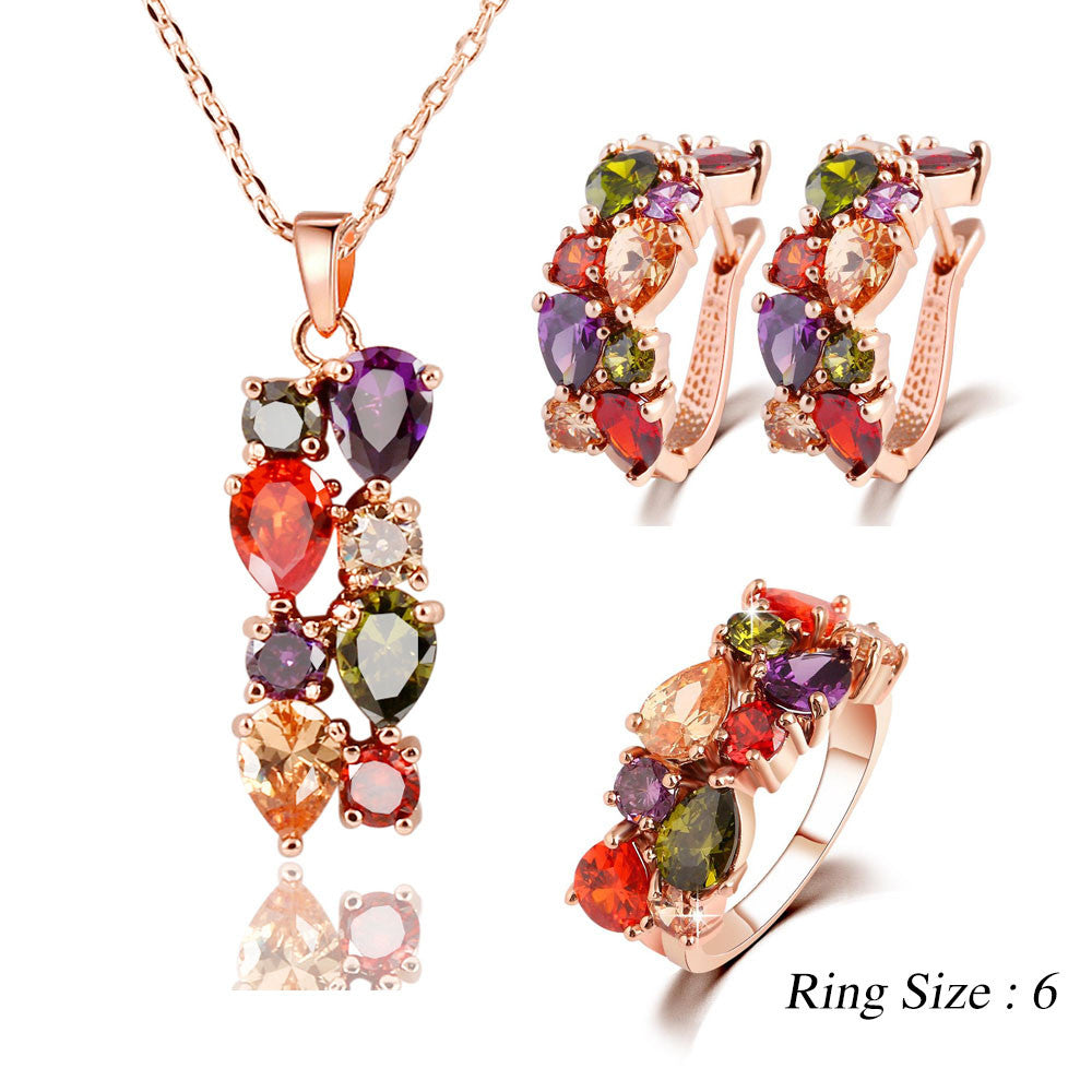 Trendy Color Crystal Jewelry Sets Flower Pendant Necklace Stud Earrings Ring Fashion Jewelry Summer Style Party For Women