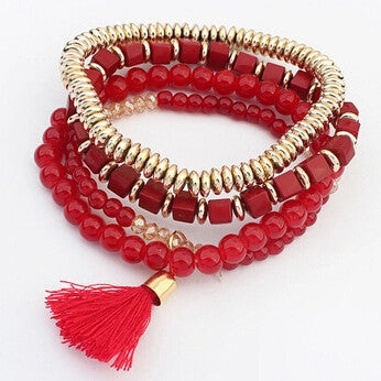 Hot Sale New Fashion Personalized Bohemian ethnic style Multilayer beaded Tassel Elastic Bracelets jewelry for women 2016