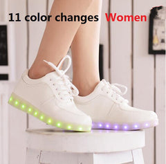 2016 Women Colorful glowing sneakers with lights up led luminous