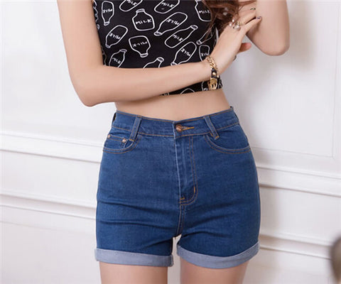 2016 New Summer High Waist Stretch Denim Shorts Slim Korean Casual women Jeans Shorts Hot Plus Size