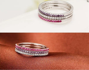 Wedding Rings for Women 925 Sterling Silver Purple Red Simulated Diamond Ring Jewelry Anillos Anel