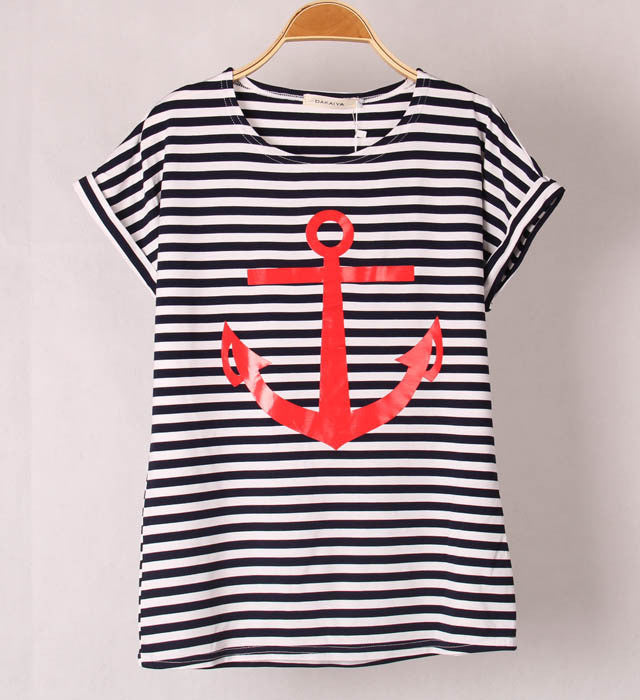 13 Colors Striped Colour with Printed CC Anchor Women short Sleeve T-Shirt Cotton Tops Skinny Tees S/M Free shipping - Gifts Leads