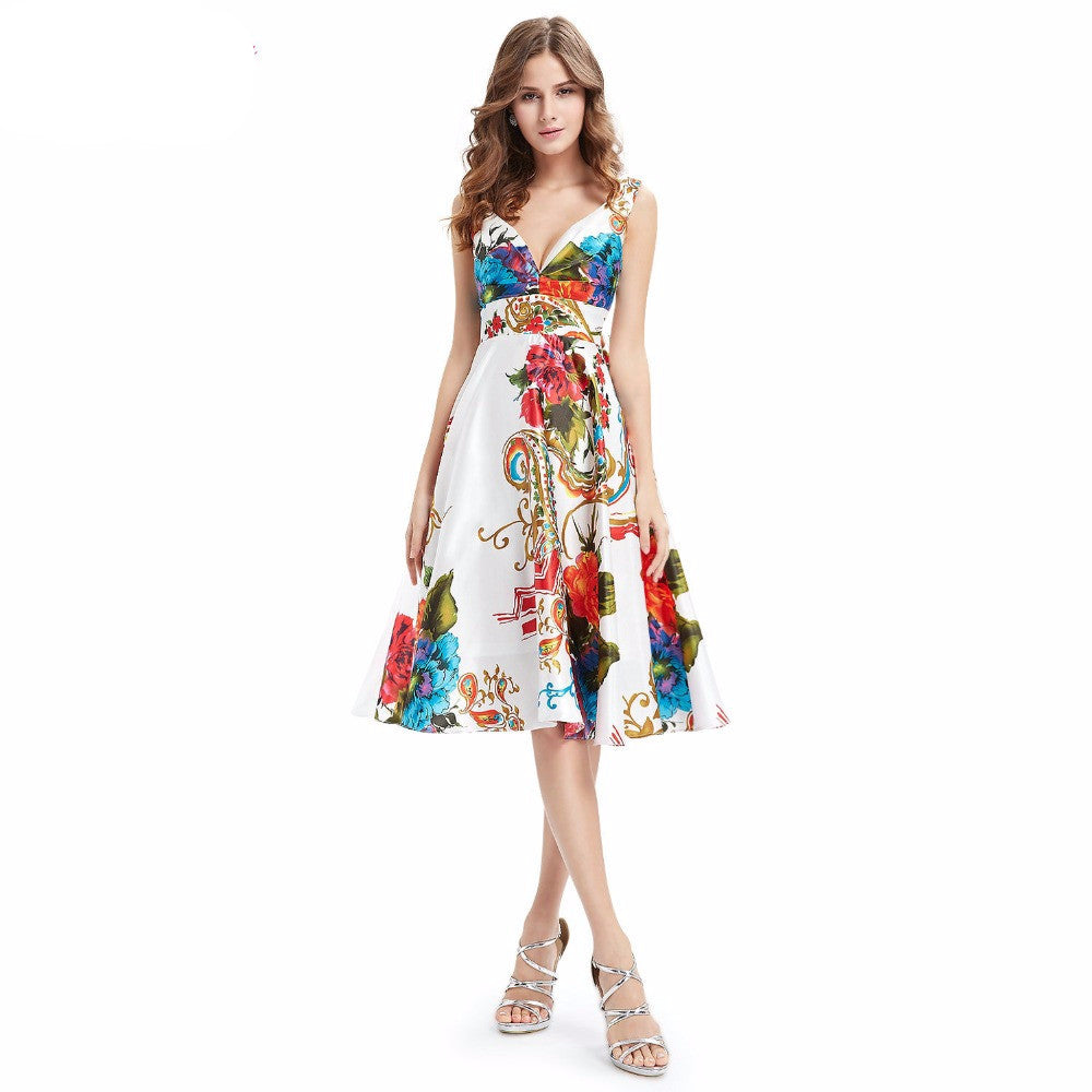 Ever-Pretty 2016 New Girl's Double V-neck Floral Printed Satin Cocktail Dresses Party Evening Dresses