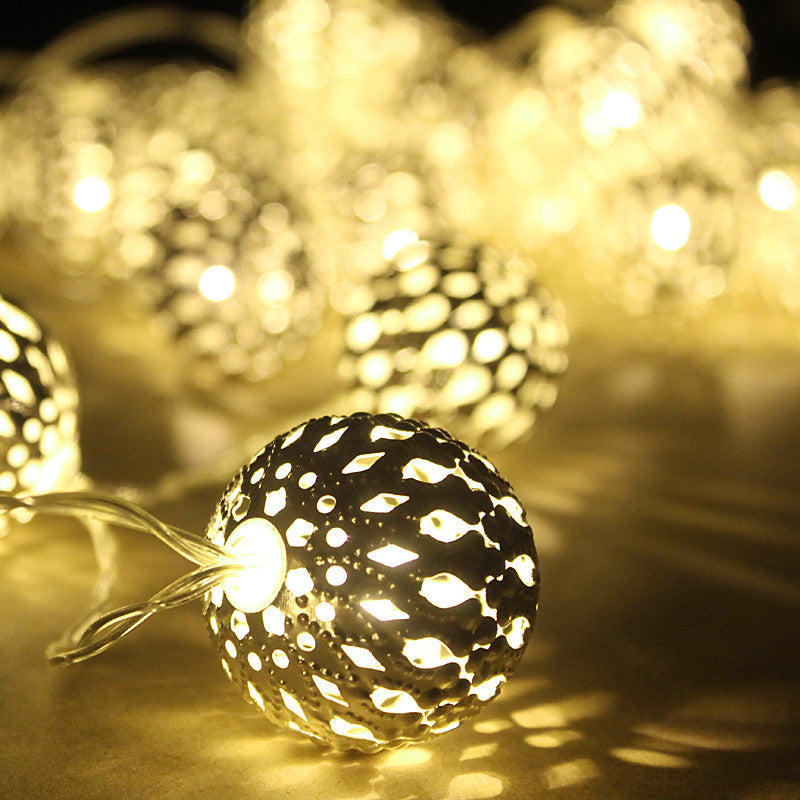 1M Golden Moroccan Orb LED String Lights Battery Operated with 10  Leds, Christmas wedding decorative lights lumineuse guirlande - Gifts Leads