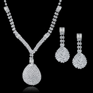 2016 New Arrival Silver Plated Jewellery Set Luxury Women Bridal Jewelry Sets Long Necklace/Earrings Set