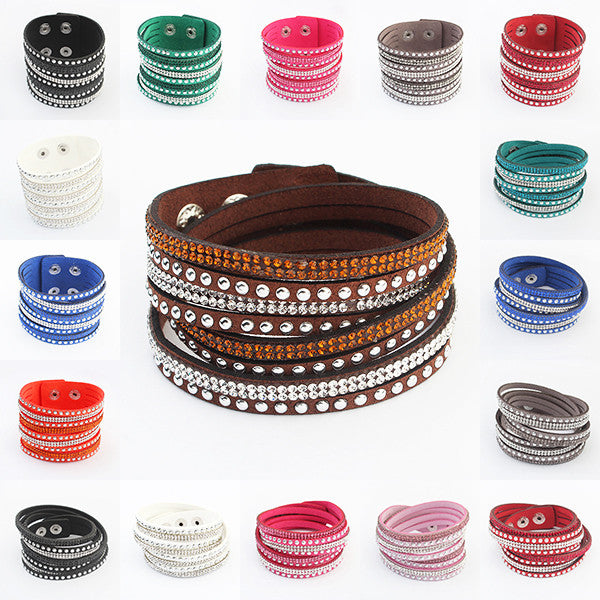 17 Colors New Unisex Multilayer Leather Bracelet Christmas Gift Charm Bracelets Vintage Jewelry For Women Pulsera 2016 - Gifts Leads
