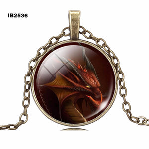 New Dragon Glass Cabochon Statement Chain Long Necklace Art Pendants Fine Jewelry Accessories Charm Style For Women
