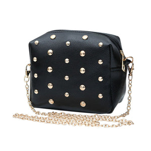 Brand new fashion Rivet women shoulder handbag leather Crossbody bag designer vintage women mini Black chain messenger bag 1 pcs