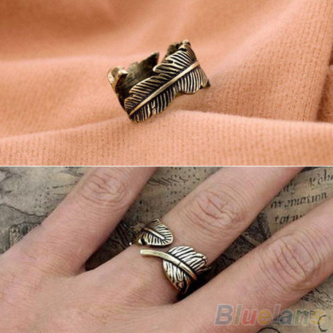 Antique Women's Men's Leaf Feather Ring Finger Ring