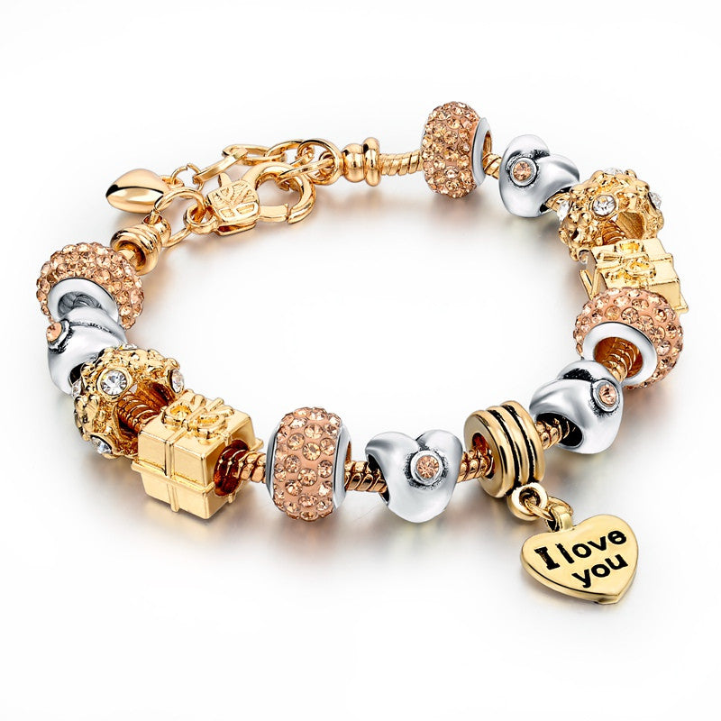 2016 Best Gift Gold Love Heart Charm Bracelet Gold Plated Snake Chain Shine&Hollow Beads Strand Bracelet For Women - Gifts Leads