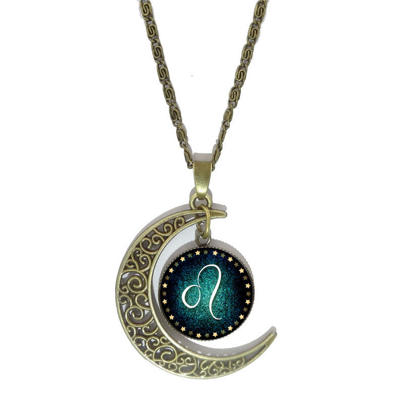 Zodiac Constellation Pendant Necklace Crescent Moon Accessories Glass Cabochon Vintage Bronze statement Jewelry Chain Necklace