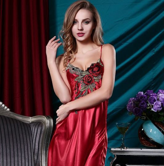 2016 Summer Style Embroidery Sexy Spaghetti Strap Nightgown