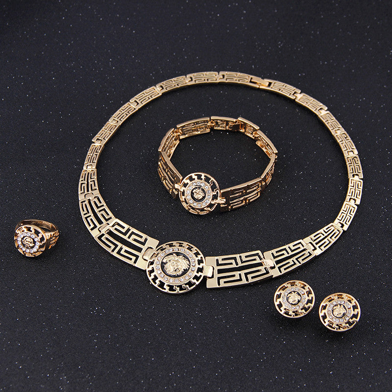 New African Jewelry Sets Gold Plated Statement Necklace Earrings Bracelet Ring Set For Women Crystal Vintage Party Accessories