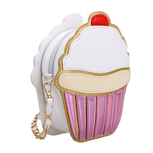 Cute Cartoon Women Ice Cream / Cupcake Shape Mini Shoulder Bag Metal Chain Mobile Keys Coin Messenger Mini Bag