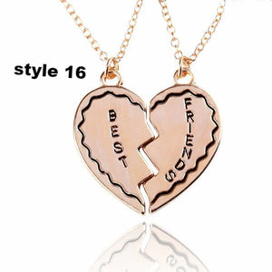 2017 New Arrival Best Friends Letters Necklace Heart Rhinestone Two Parts Pendant Necklace for Friends New Design