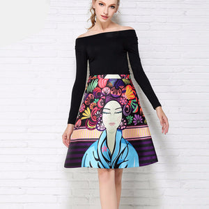 New Fashion Women Portrait Print Skirt Pocket Design Empire