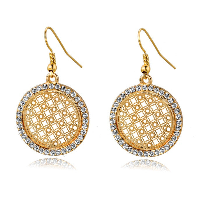New Arrival Big Round Drop Earrings For Women Real Gold Silver Plated Brincos Pendientes Crystal Statement Earrings