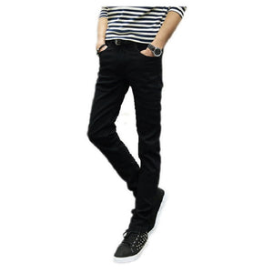 2016 male black skinny jeans men's clothing trend slim small
