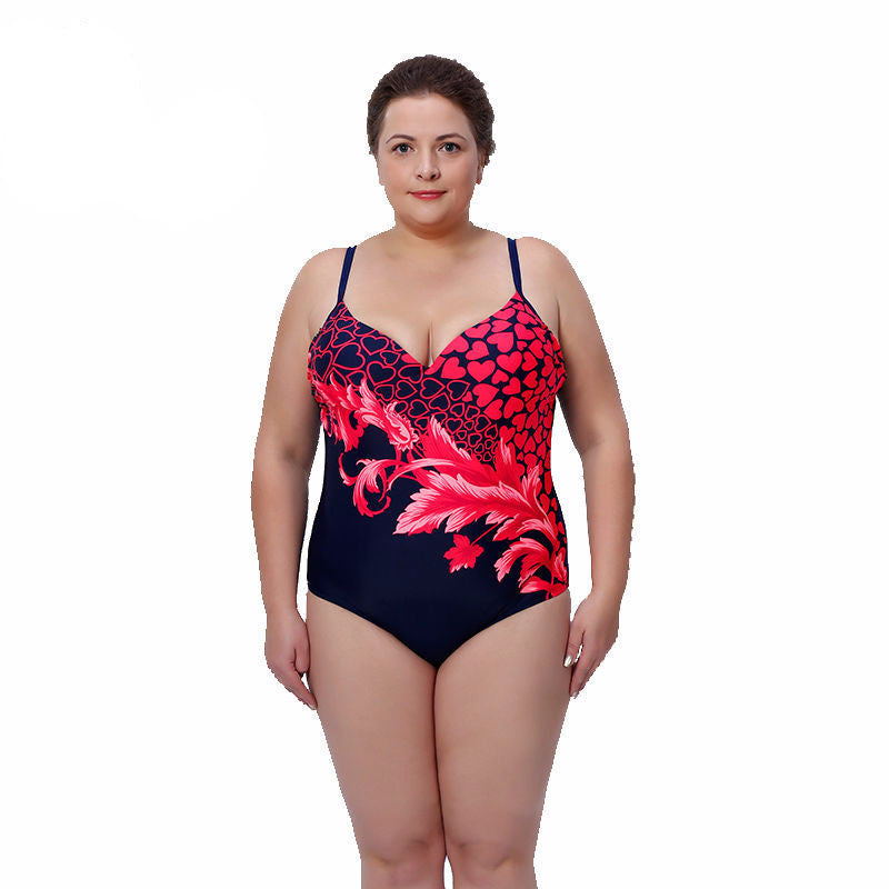 c4a394fa0d 2016 New Summer Women One Pieces Swimsuit Plus Size Large Cup Swimsuit  Feather Print High Waist