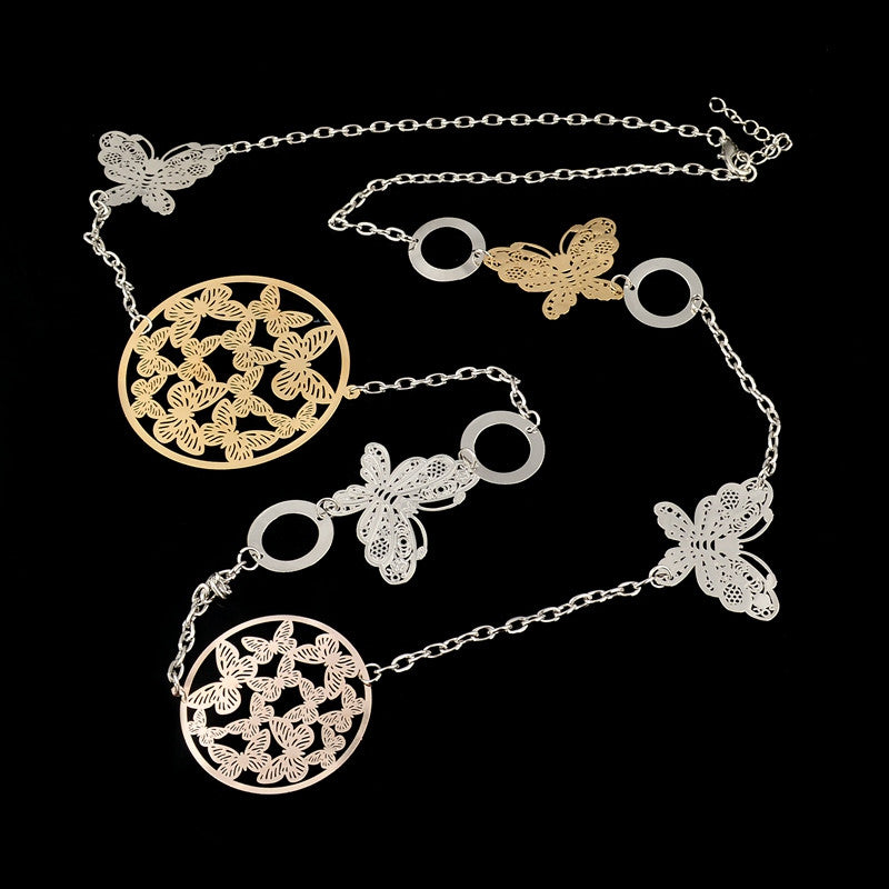 Vintage Long Statement Necklace Real Gold Silver Plated Round Flower Women Necklaces & Pendants Fashion Jewelry
