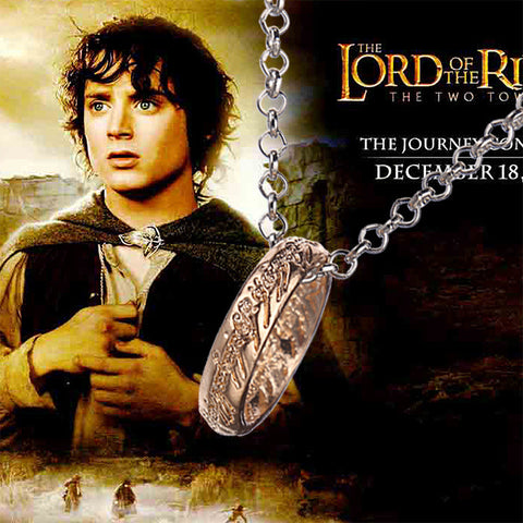 "Lord of the Rings ""The One Ring"" Bilbo's Hobbit Ring Tungsten w/chain LOTR cosplay jewelry"