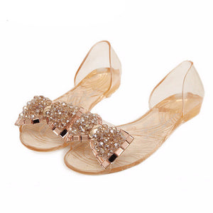 Bow Jelly Shoes Woman Summer Hot Sandals Ladies Casual Flat