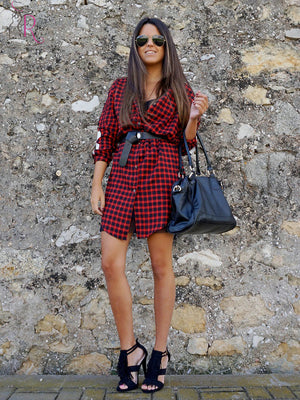 Monogrammed Sleeves Plaid Long Oversized Loose Shirt