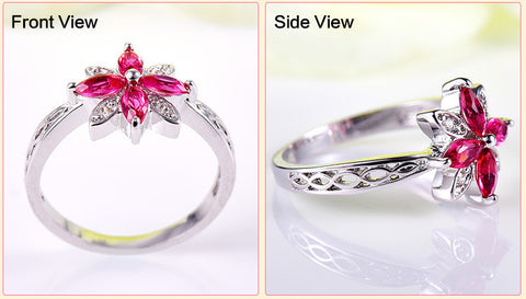 Flower Cluster Jewelry Vintage Engagement Ring Women Girls