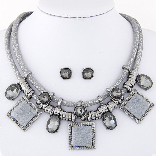 Statement  necklace Fashion Women Brand vintage Double chain contracted crystal square short Necklaces & Pendant jewelry set