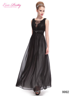 Sexy Lace Black V Neck Maxi Prom Party Evening Dress