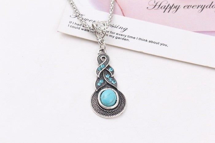 Metal chain Vintage style flower rhinestone cross Geometric round turquoise pendant necklace jewelry 2014 M13