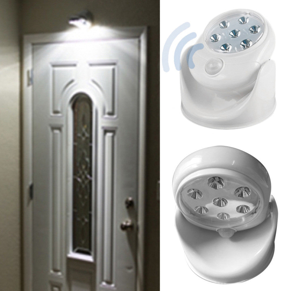 6V 7 LEDs Cordless Motion Activated Sensor Light Lamp 360 Degree Rotation Wall Lamps White Porch Light For Indoor and Outdoor