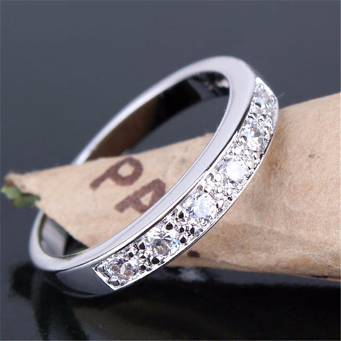 Simple Style 18K Gold Plated Round Cut White Crystals Swiss Zircon CZ Band Rings For Women