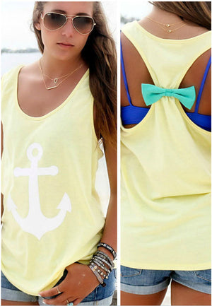 2016 T Shirt Women Back Bow Vest Anchors Print Sexy