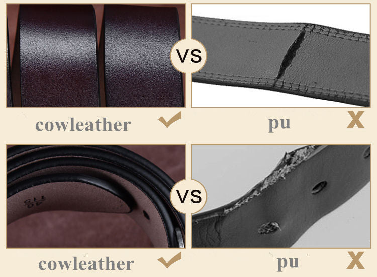 Top-quality men's thicken genuine cow leather belt